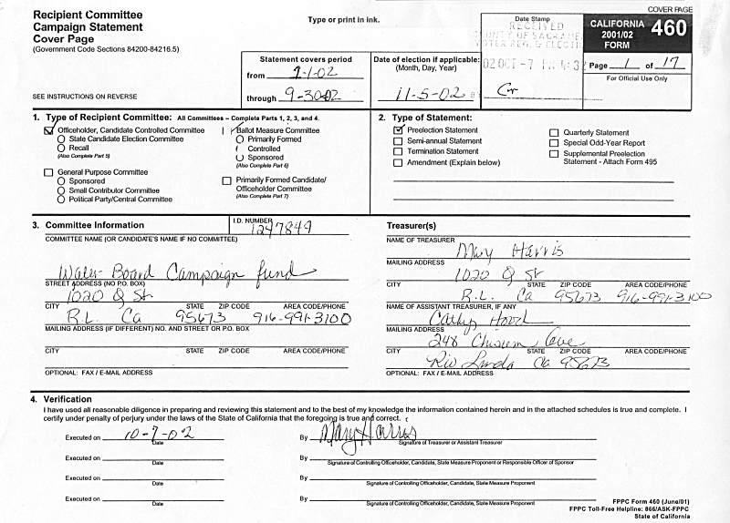 Campaign Disclosure Mary Harris Cathy Hood Rio Linda